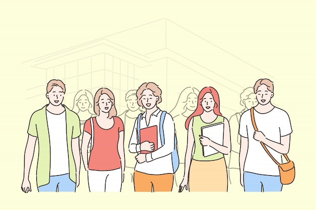 Bildung, studium, freundschaft, treffen, universitätskonzept