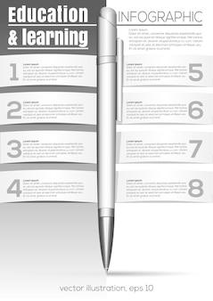 Bildung und lernen. schwarz-weiß-infografik mit kugelschreiber. designvorlage