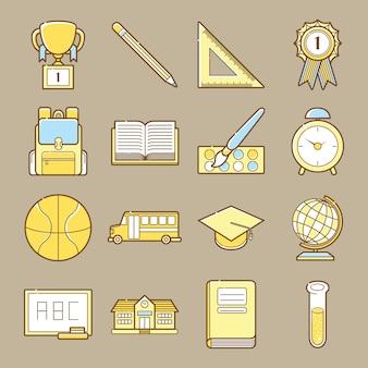 Bildung und schule icon-set Premium Vektoren
