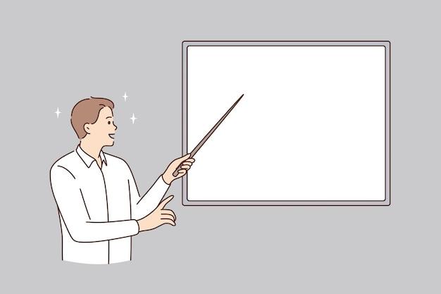 Bildung und weißes tafelkonzept. junger lächelnder mann lehrer dozent, der mit stock auf weiße mockup-kopierraum-tafel-vektor-illustration zeigt