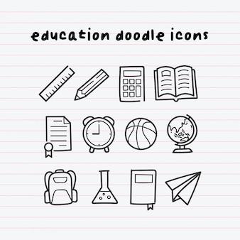 Bildungs-gekritzel-ikonen auf papierlinie