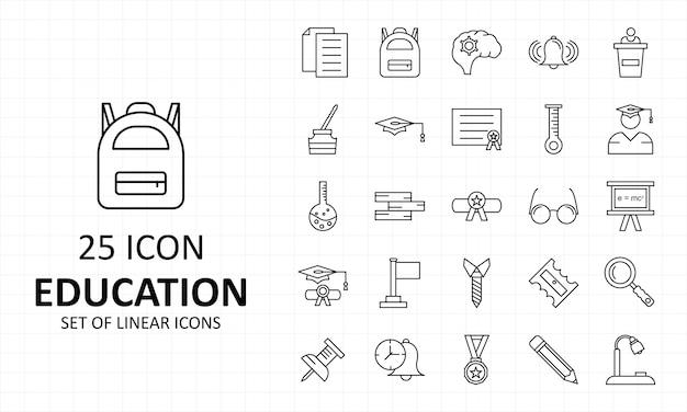 Bildungs-ikonen-blatt-pixel perfekt Premium Vektoren