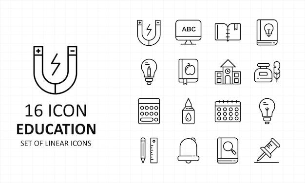 Bildungs-ikonen-blatt-pixel-perfekte ikonen