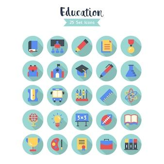 Bildungs-ikonen-vektor-lange schatten-art