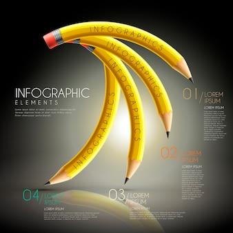 Bildungs-infografik-schablonendesign mit biegestiften