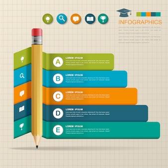 Bildungs-infografik-schablonendesign mit bleistiftelement