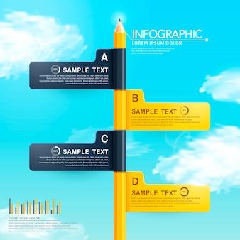 Bildungs-infografik-schablonendesign mit bleistiftelementen