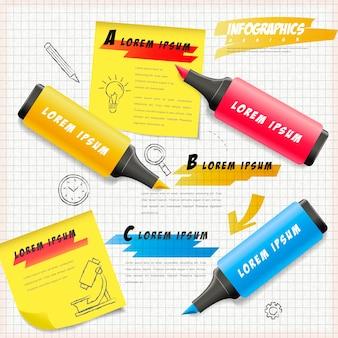 Bildungs-infografik-schablonendesign mit textmarkern zeichnen auf briefpapier