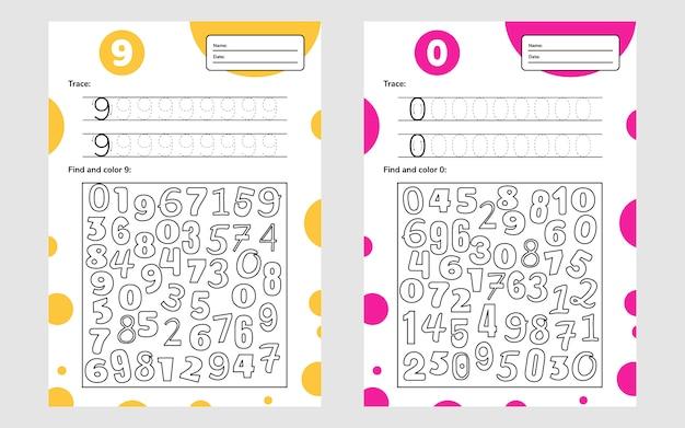 Bildungsarbeitsblatt für kinder im vorschul- und schulalter. zahlenspiel für kinder. verfolgen, finden und färben. neun und null.