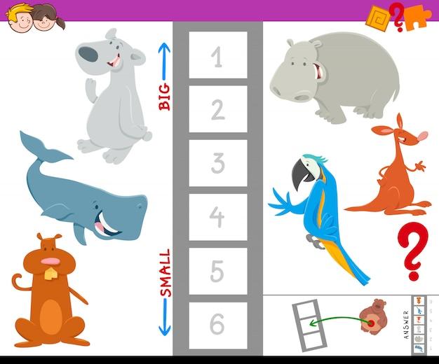 Bildungsarbeitsbuch mit großen und kleinen tieren