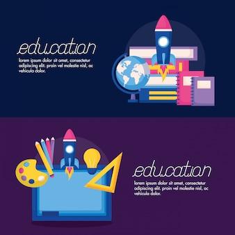 Bildungsbedarf im flachen artfahnensatz