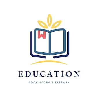 Bildungsbuchlogo mit blättern oben im buch geeignet für buchladen oder bibliothek