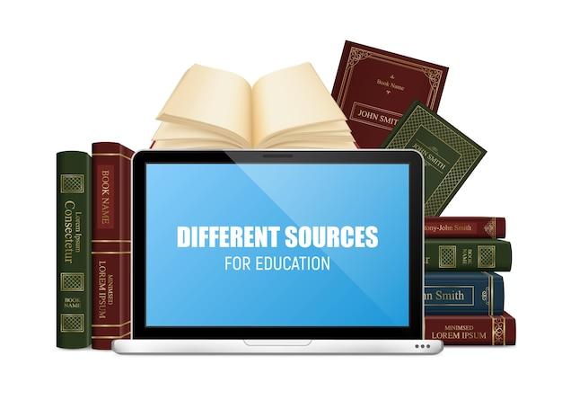Bildungsbücher im festen einband und im laptop mit beschriftung auf blauem schirm 3d