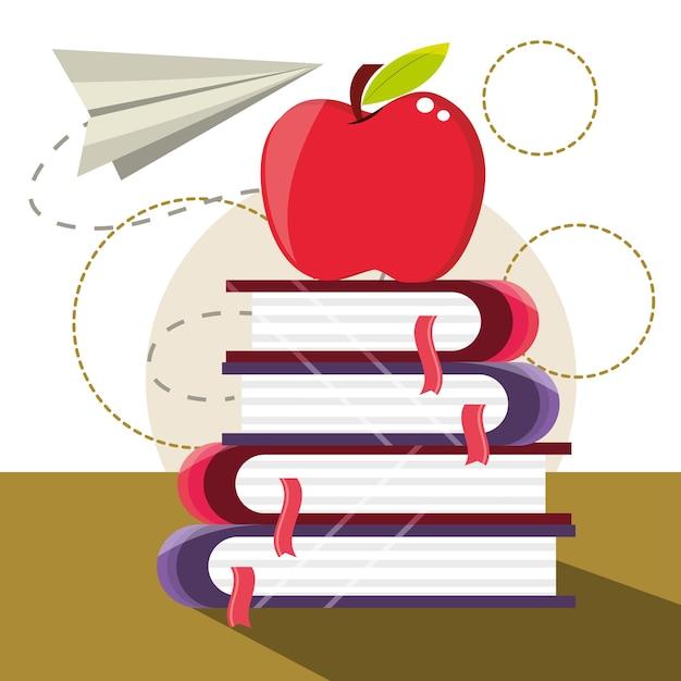 Bildungsbücher und apfel