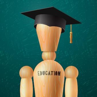 Bildungsdesign abschlusskonzept holzpuppe in der mortarboard-vektor-illustration