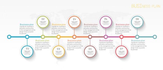 Bildungsdiagramm. es gibt 8 schritte, ebene vektoren im design verwenden