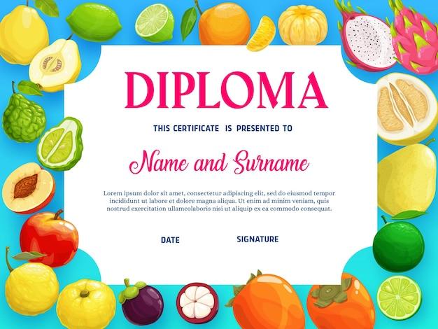 Bildungsdiplom mit tropischen früchten pfirsich
