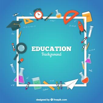 Bildungselementhintergrund in der flachen art