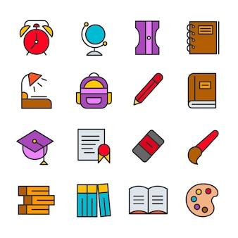 Bildungsikonen stellten schuldesign-logoillustration ein
