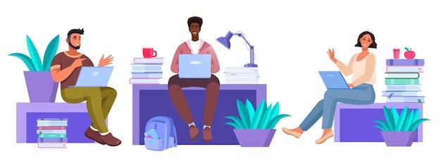 Bildungsillustration mit verschiedenen sitzenden studenten mit laptops, die im internet studieren, bücher
