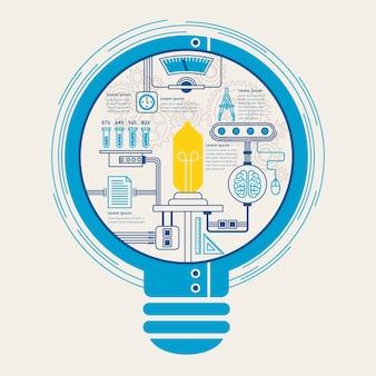 Bildungsinfografik mit kreativem glühbirnenelement im flachen design