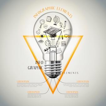 Bildungsinfografik-schablonendesign mit elegantem glühbirnenelement