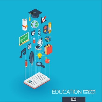 Bildungsintegrierte web-icons. isometrisches fortschrittskonzept für digitale netzwerke. verbundenes grafisches linienwachstumssystem. abstrakter hintergrund für e-learning, abschluss und schule. infograph