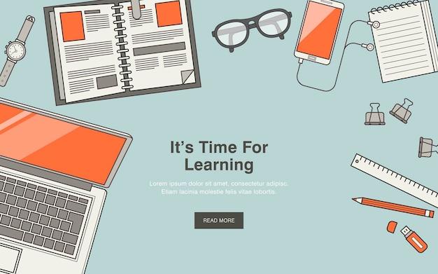 Bildungskonzept: draufsicht auf den arbeitsplatz im thin-line-stil