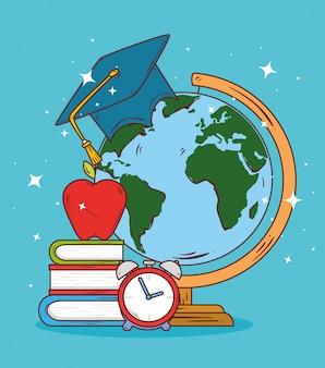 Bildungskonzept, globus erde mit hutabschluss und schulmaterial, vektorillustrationsdesign