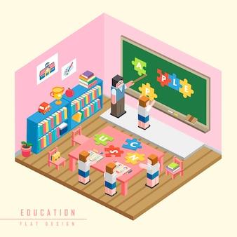 Bildungskonzept isometrische 3d-infografik mit schüler, die ein puzzle lösen