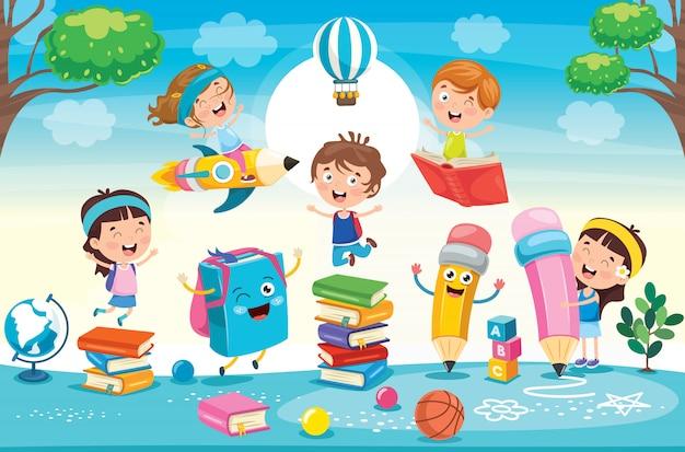 Bildungskonzept mit lustigen kindern