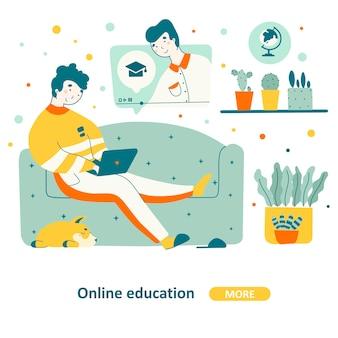 Bildungskurshaus im flachen design
