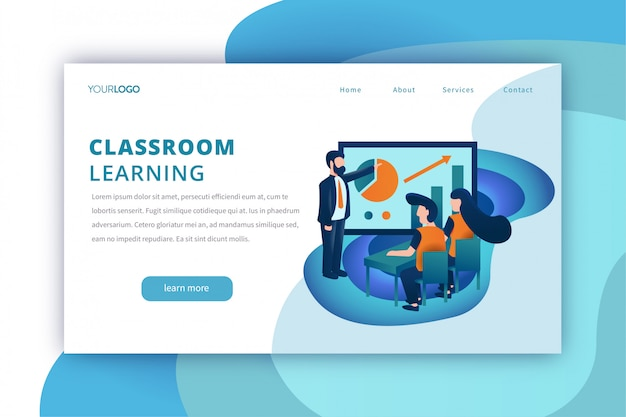 Bildungslandungsseitenschablone mit dem klassenzimmer, das thema lernt