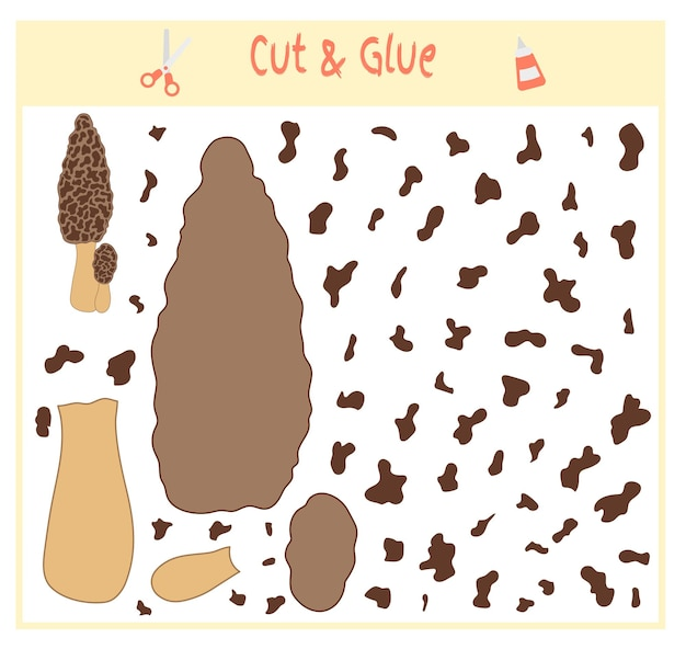 Bildungspapierspiel für die entwicklung von vorschulkindern. teile des bildes ausschneiden und auf das papier kleben. vektor-illustration. verwenden sie schere und kleber, um den applique.mushroom zu erstellen.