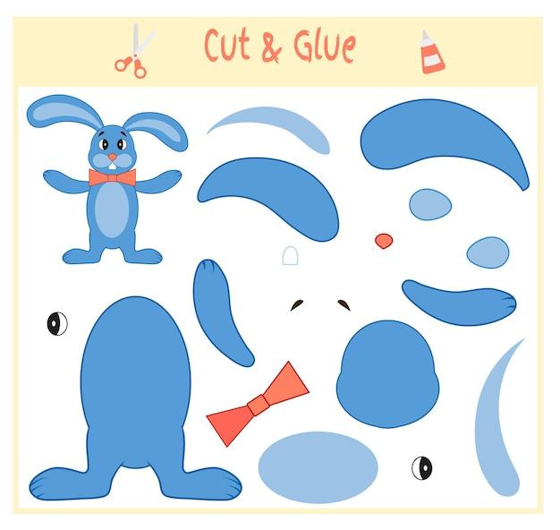 Bildungspapierspiel für die entwicklung von vorschulkindern. teile des bildes ausschneiden und auf das papier kleben. vektor-illustration. verwenden sie schere und kleber, um die applikation zu erstellen. hase.
