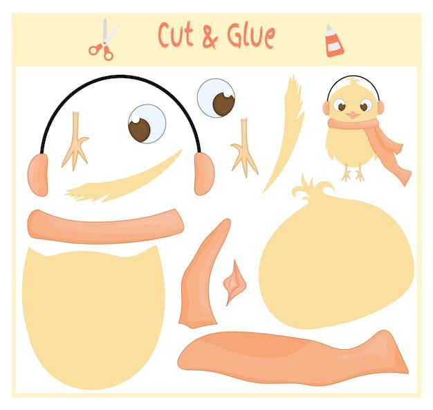 Bildungspapierspiel für die entwicklung von vorschulkindern. teile des bildes ausschneiden und auf das papier kleben. vektor-illustration. verwenden sie schere und kleber, um die applikation zu erstellen. hühnervogel.