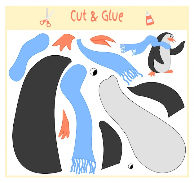 Bildungspapierspiel für die entwicklung von vorschulkindern. teile des bildes ausschneiden und auf das papier kleben.