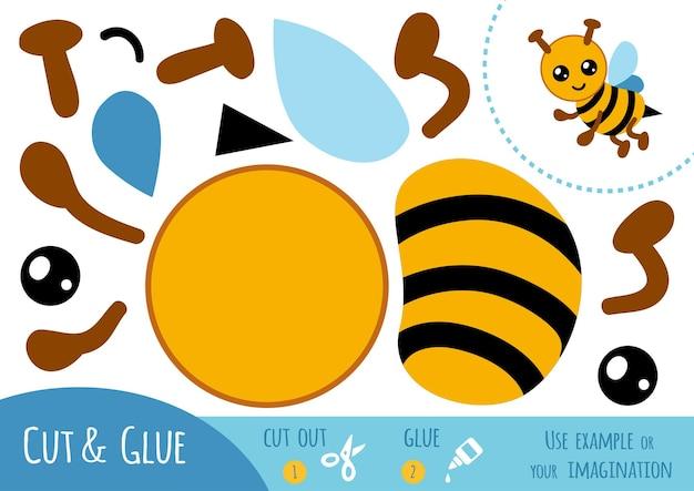 Bildungspapierspiel für kinder, biene. verwenden sie schere und kleber, um das bild zu erstellen.