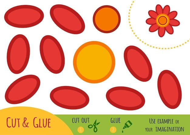 Bildungspapierspiel für kinder, blume. verwenden sie schere und kleber, um das bild zu erstellen.