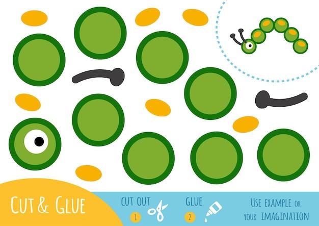 Bildungspapierspiel für kinder, caterpillar. verwenden sie schere und kleber, um das bild zu erstellen.
