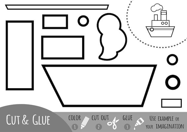 Bildungspapierspiel für kinder, dampfschiff. verwenden sie schere und kleber, um das bild zu erstellen.