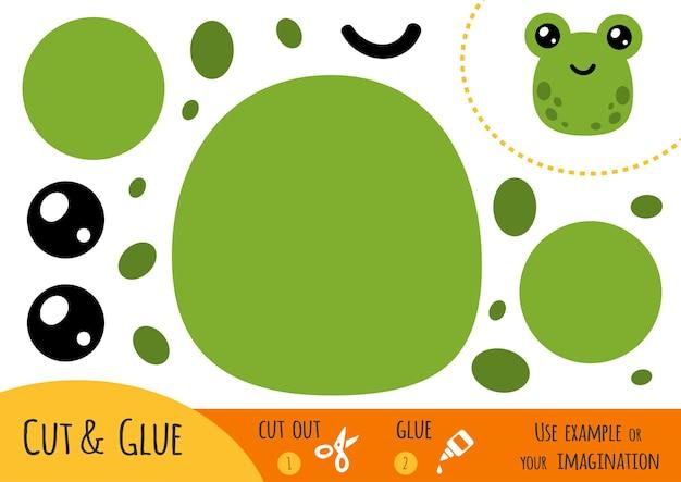 Bildungspapierspiel für kinder, frosch. verwenden sie schere und kleber, um das bild zu erstellen.