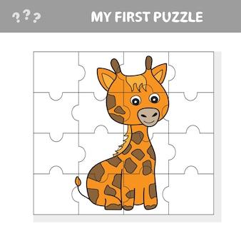 Bildungspapierspiel für kinder, giraffe. bild erstellen - mein erstes puzzle für kinder