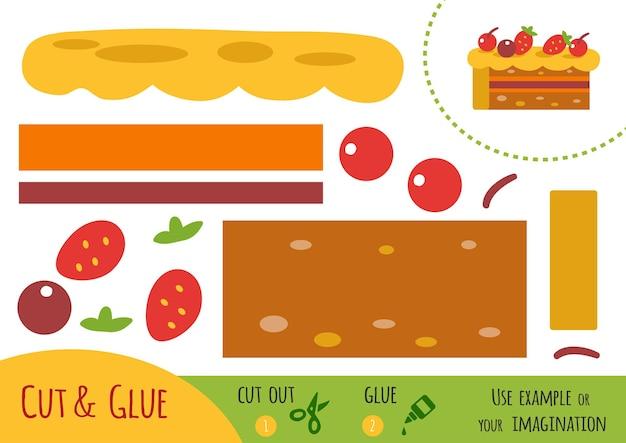 Bildungspapierspiel für kinder, kuchen. verwenden sie schere und kleber, um das bild zu erstellen.
