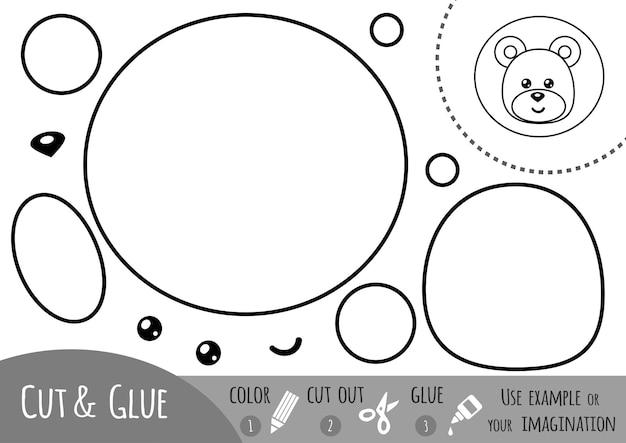 Bildungspapierspiel für kinder, löwe. verwenden sie schere und kleber, um das bild zu erstellen.