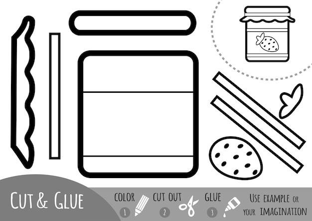 Bildungspapierspiel für kinder, marmeladenglas. verwenden sie schere und kleber, um das bild zu erstellen.