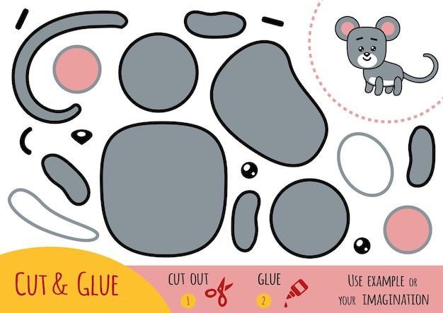 Bildungspapierspiel für kinder, maus. verwenden sie schere und kleber, um das bild zu erstellen.