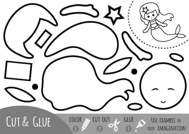 Bildungspapierspiel für kinder, meerjungfrau. verwenden sie schere und kleber, um das bild zu erstellen.