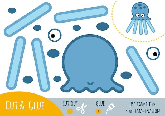 Bildungspapierspiel für kinder, octopus. verwenden sie schere und kleber, um das bild zu erstellen.