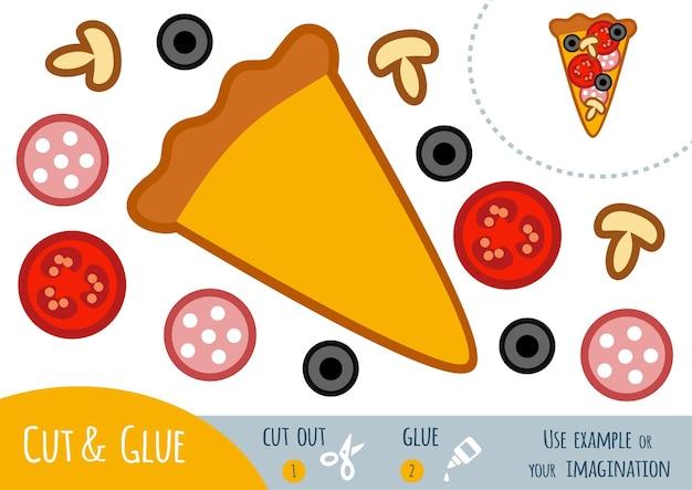 Bildungspapierspiel für kinder, pizza. verwenden sie schere und kleber, um das bild zu erstellen.